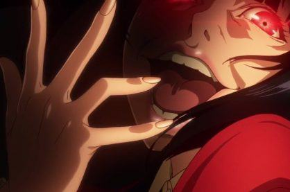Kakegurui, the star of the show on a dark red background