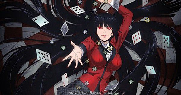 Kakegurui on a red and white background with flying cards