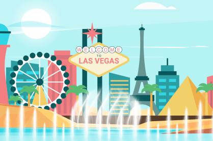 Las Vegas skyline with water fountains