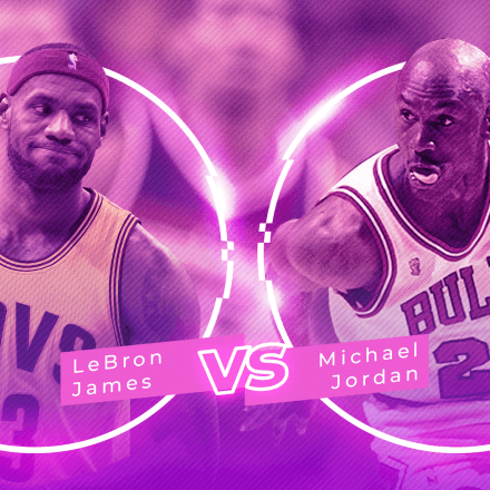 LeBron James vs Michael Jordan collage