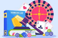 Gambling law books with roulette wheel