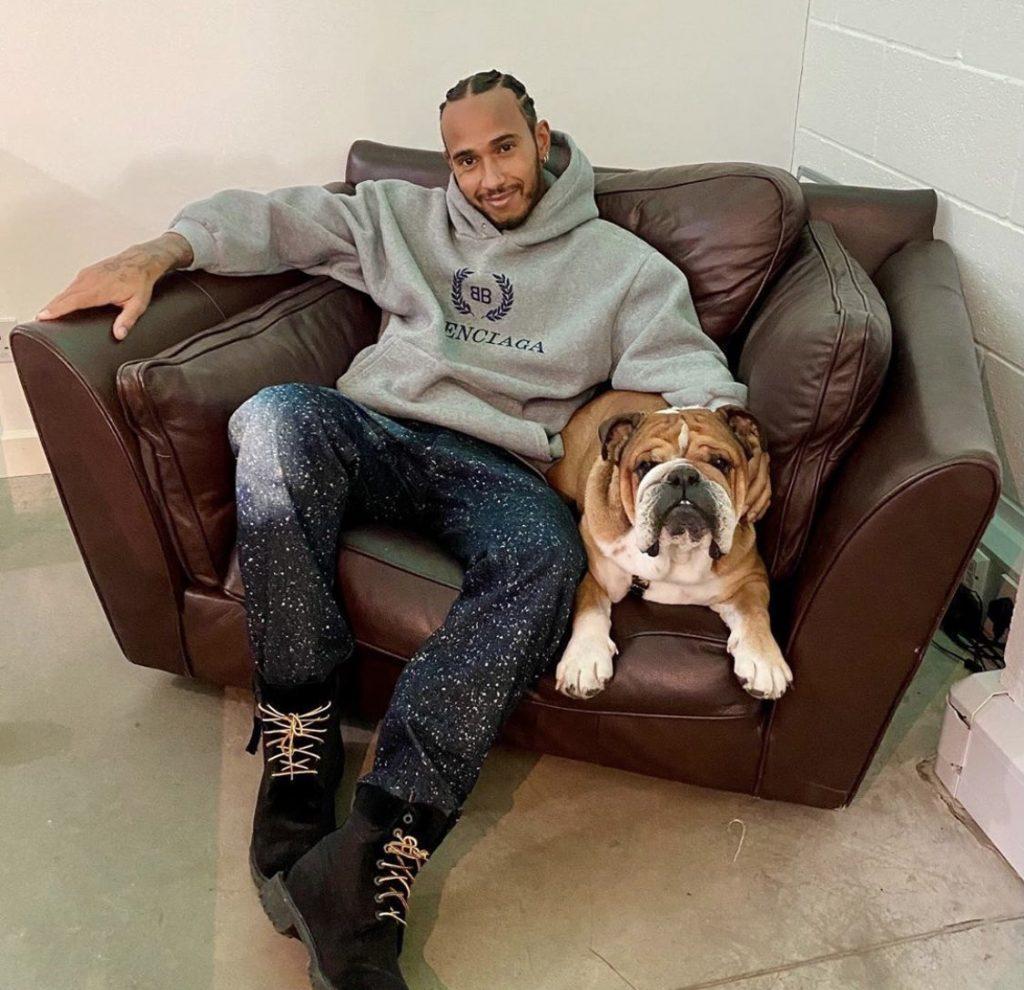 Lewis Hamilton and his dog