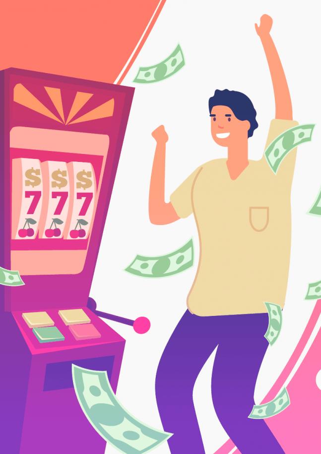 Person winning on a slot machine