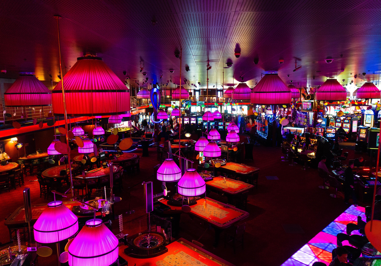 Casino floor with pink lighting