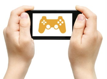 hands holding phone with game controller on screen