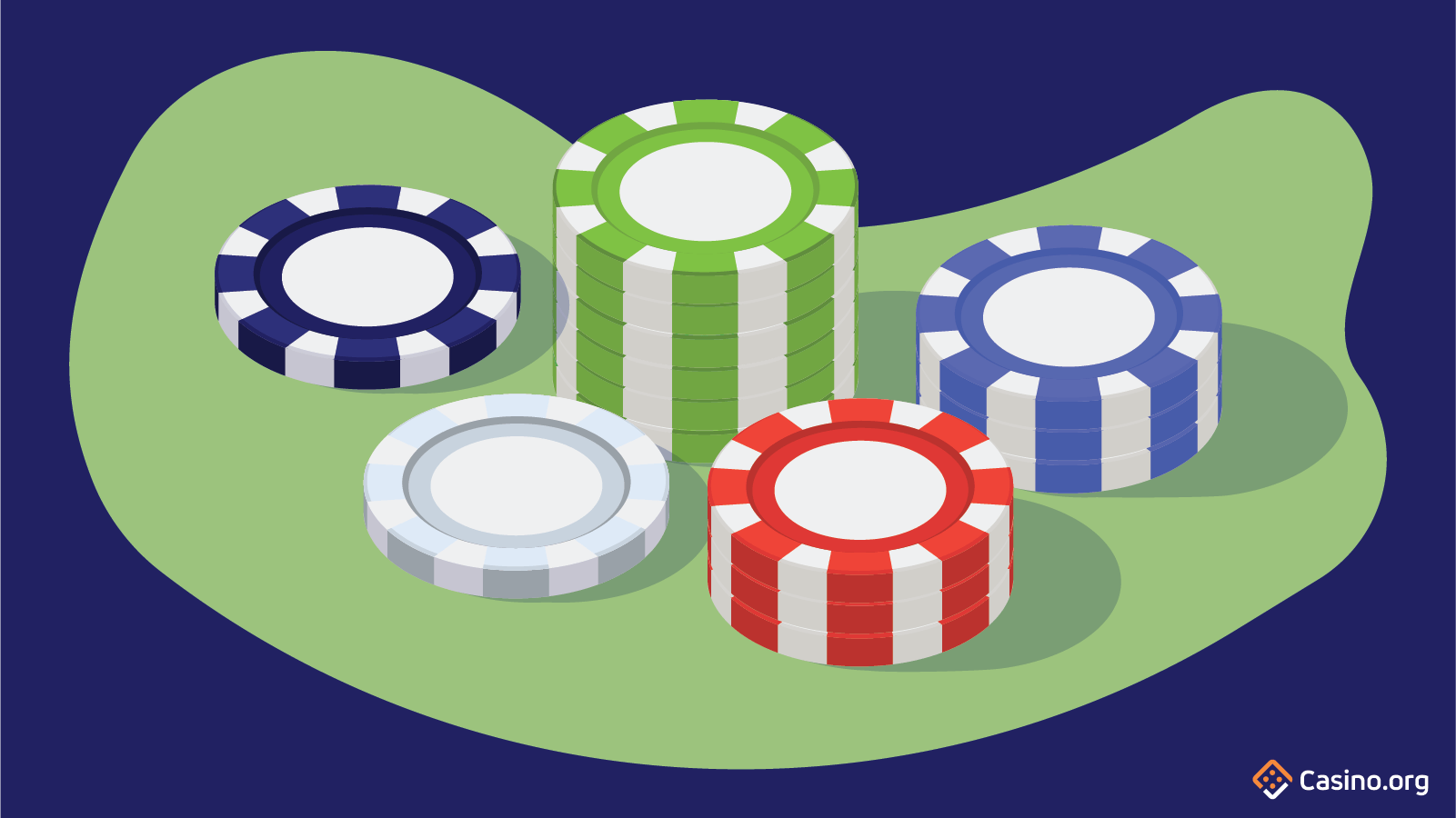Image of poker chips stacked.