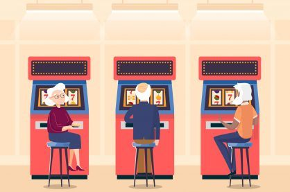 Cartoon of old people playing slot machines