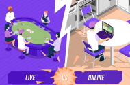 People playing live poker vs online poker player.
