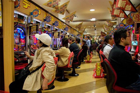 Inside a pachinko arcade.