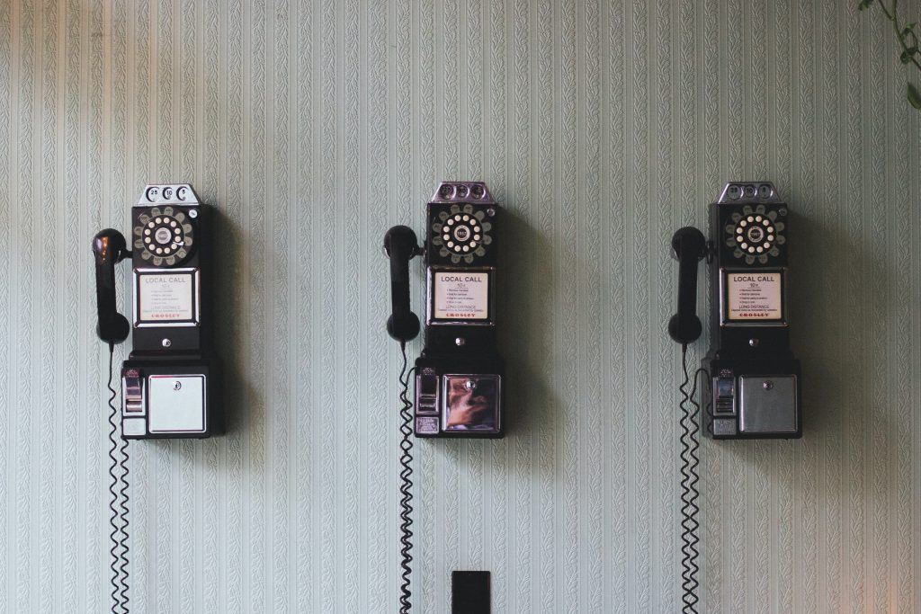 Telephones on a wall