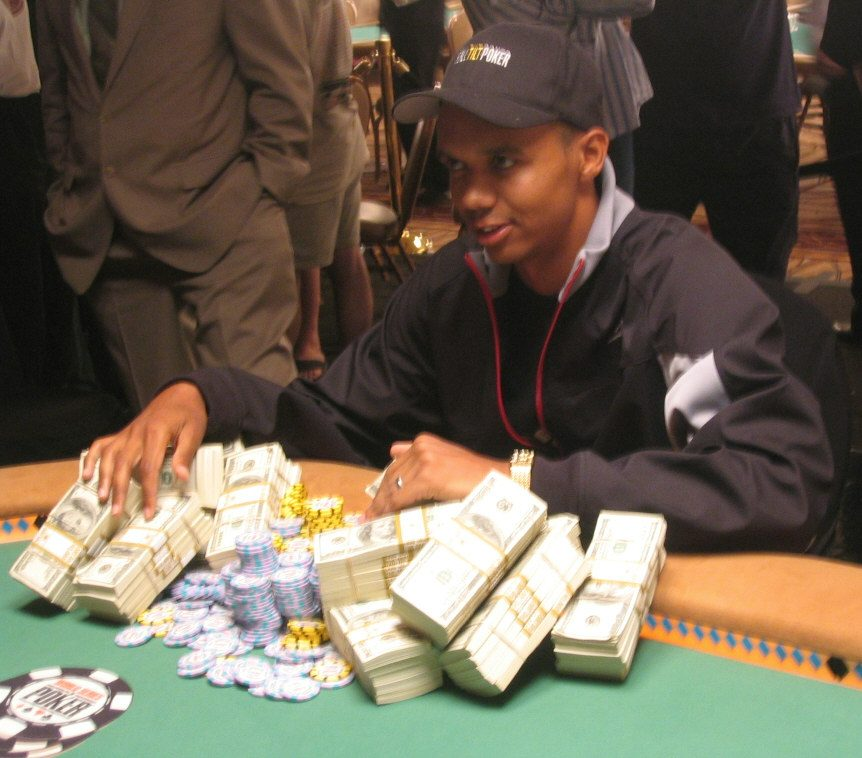 Phil Ivey pictured with poker winnings