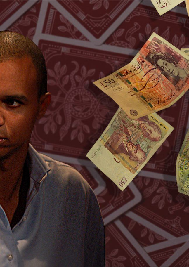 Phil Ivey with money falling