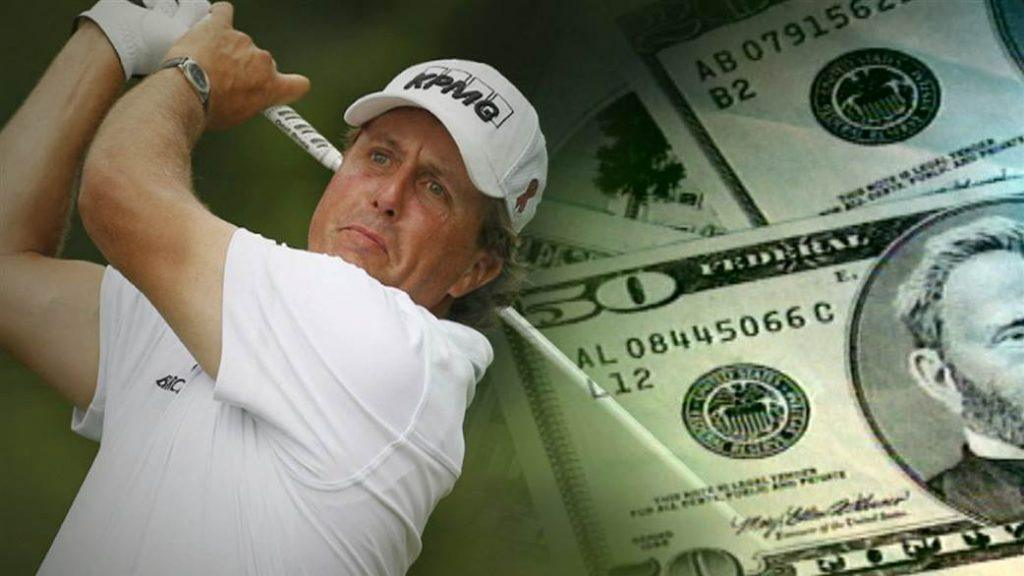 Phil Mickelson playing golf next to gambling cash