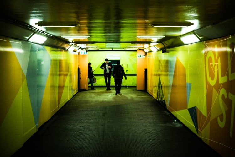 Underground tunnel with people