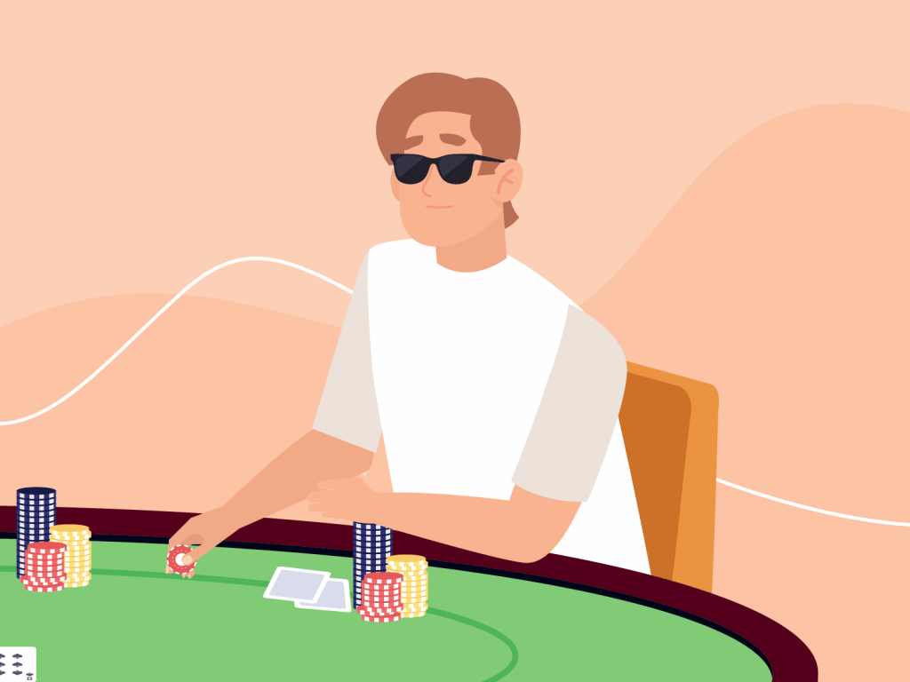 Poker player wearing sunglasses bluffing