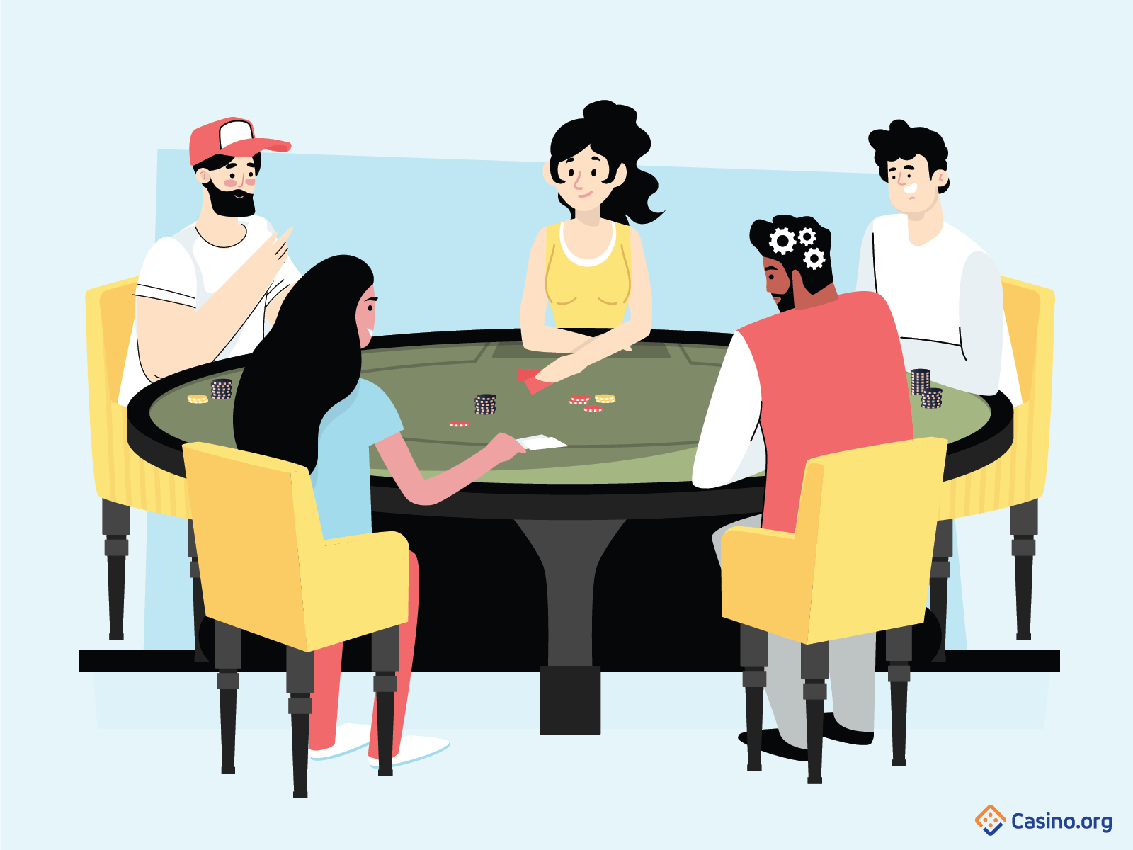 Poker players at table