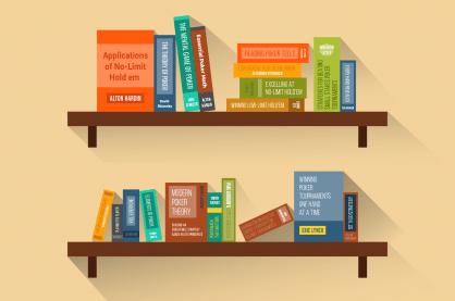Poker books on shelf