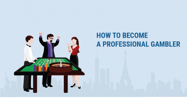 title image showing how to become a professional gambler on blue background