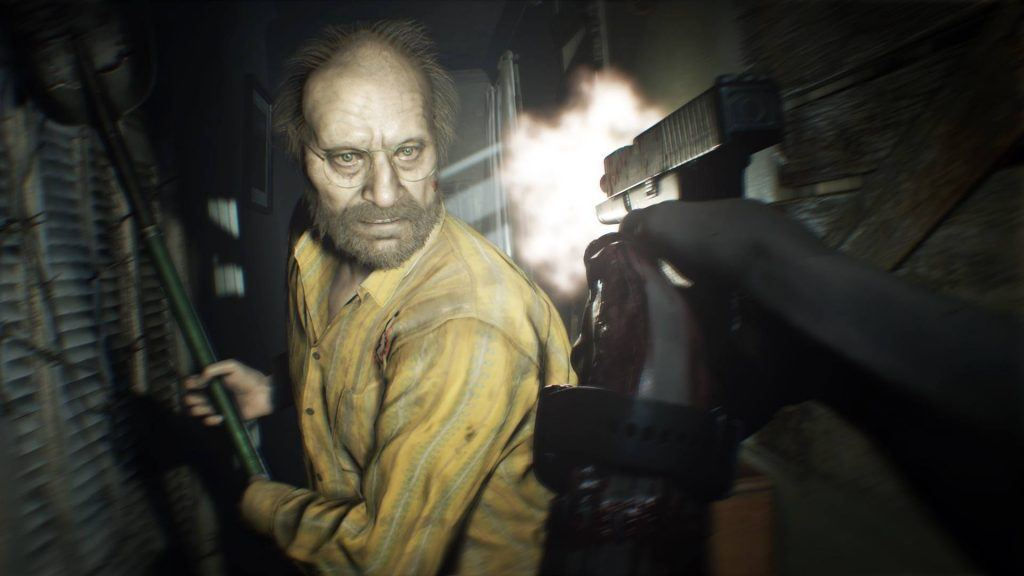 Image from virtual reality gameplay of Resident Evil on the PS4