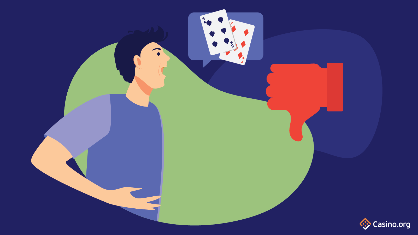 Someone declaring their poker hand, with a red thumb pointing down.