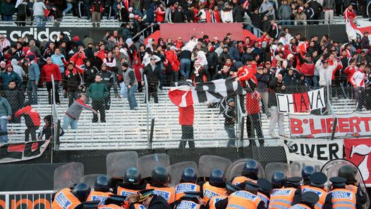 River Plate fans rioting in a football stadium