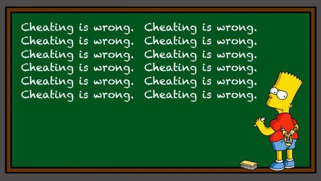 Bart Simpson writing no cheating on blackboard