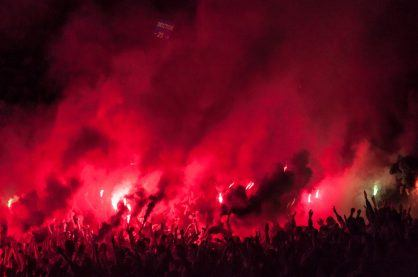 Football fans lit up the lights, flares and smoke bombs