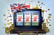 Cartoon slot machine with union jack flag