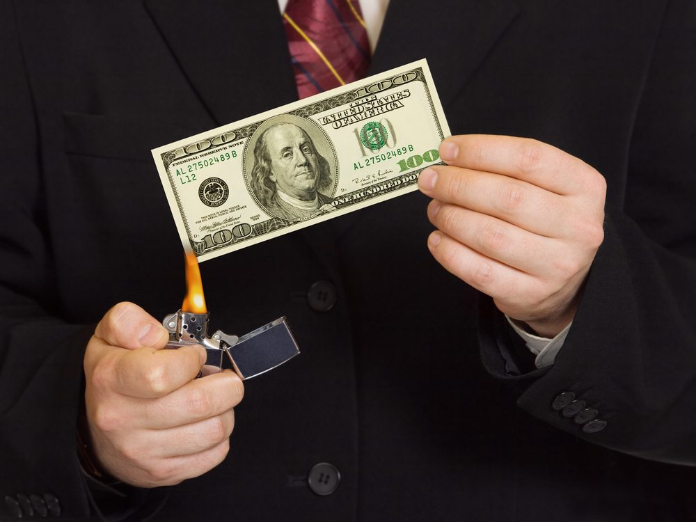 Person burning money