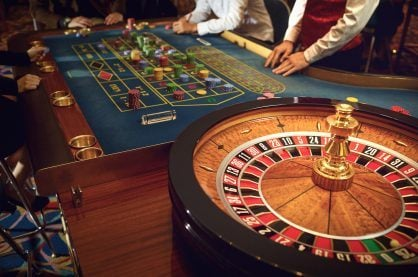 Roulette wheel and table