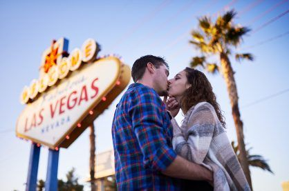 Couple kissing in Las Vegas