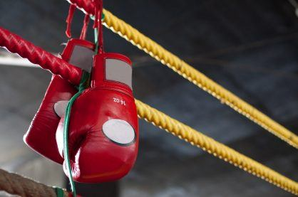 Boxing gloves hanging up