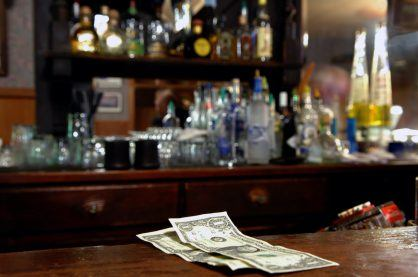Two Dollar Tip Left For Bartender