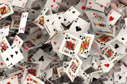 Playing cards falling