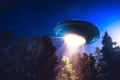 UFO in the sky at night