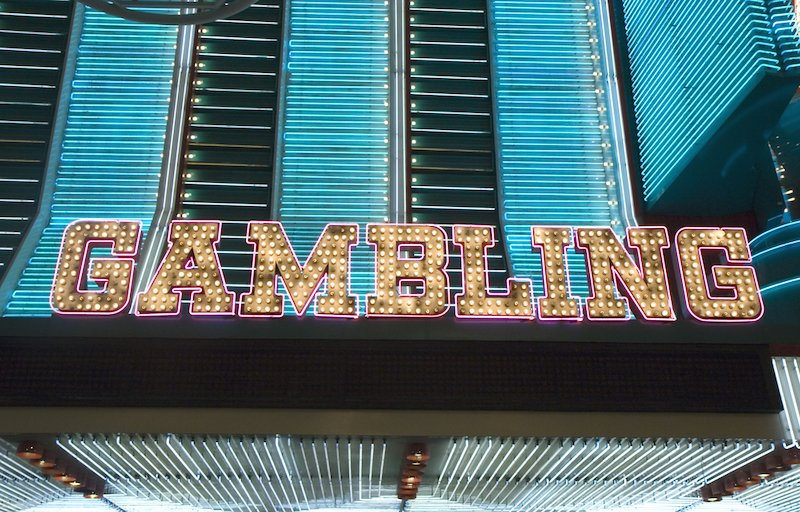 An old fashioned light bulb sign Gambling