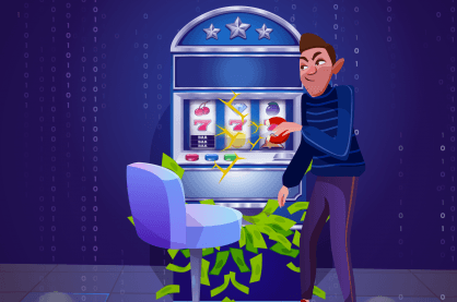 Graphic of a man cheating a slot machine with a magnet.