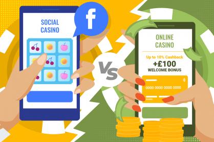 phone screenshots of social casino vs real money casino