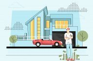 Cartoon man stood outside his house with a nice car and lots of money.