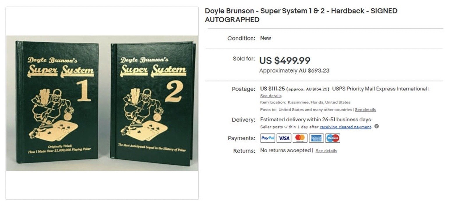 Signed copy of Doyle Brunson's Super System book
