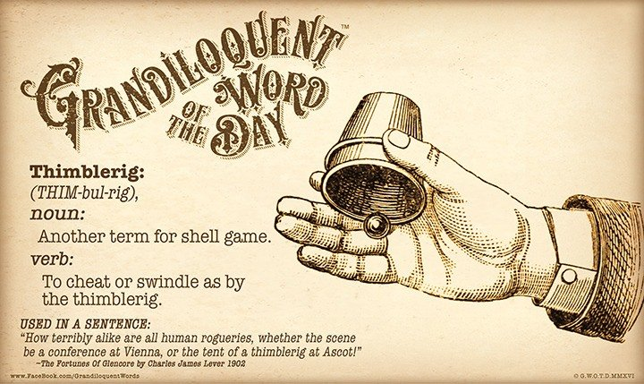 illustration showing thimblerig game and scam definition