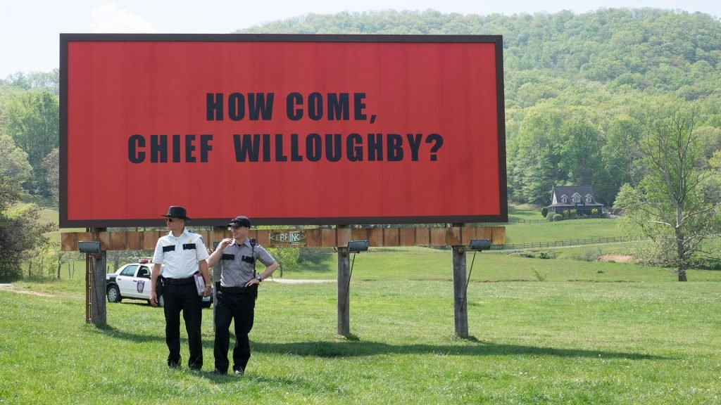 Characters from a scene from the film Three Billboards