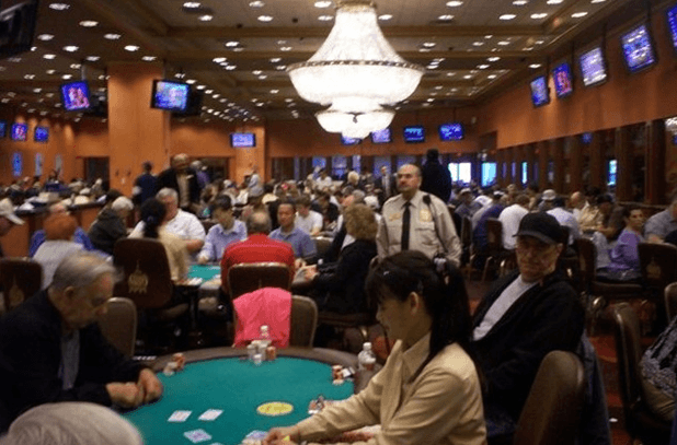 Photo of the Taj Mahal poker room on Wednesday evening, June 2, 2010 . Not only was every table full, but a record Bad Beat jackpot exceeding $607,000 had many people playing round the clock. (Source: PressOfAtlanticCity.com)