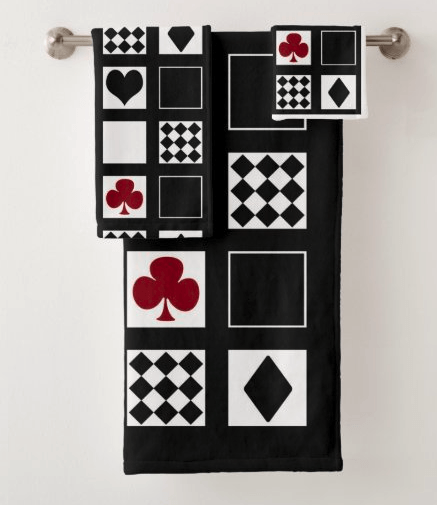 Casino playing cards bath towel set