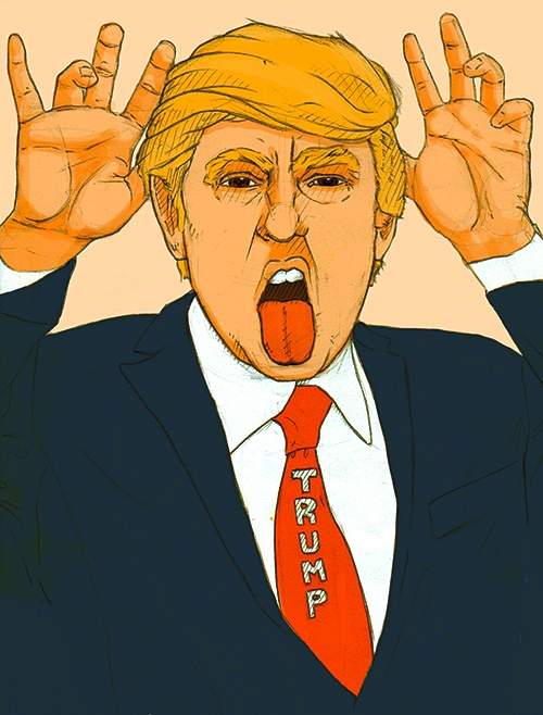 illustration of Trump with tongue out