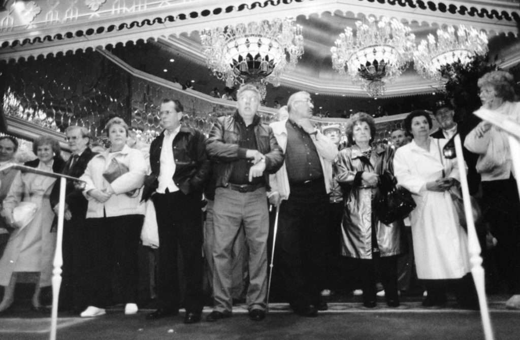 April 2, 1990. It was a long wait to get onto the casino floor on opening day, but worth it for these excited gamblers. (Source: PressOfAtlanticCity.com)