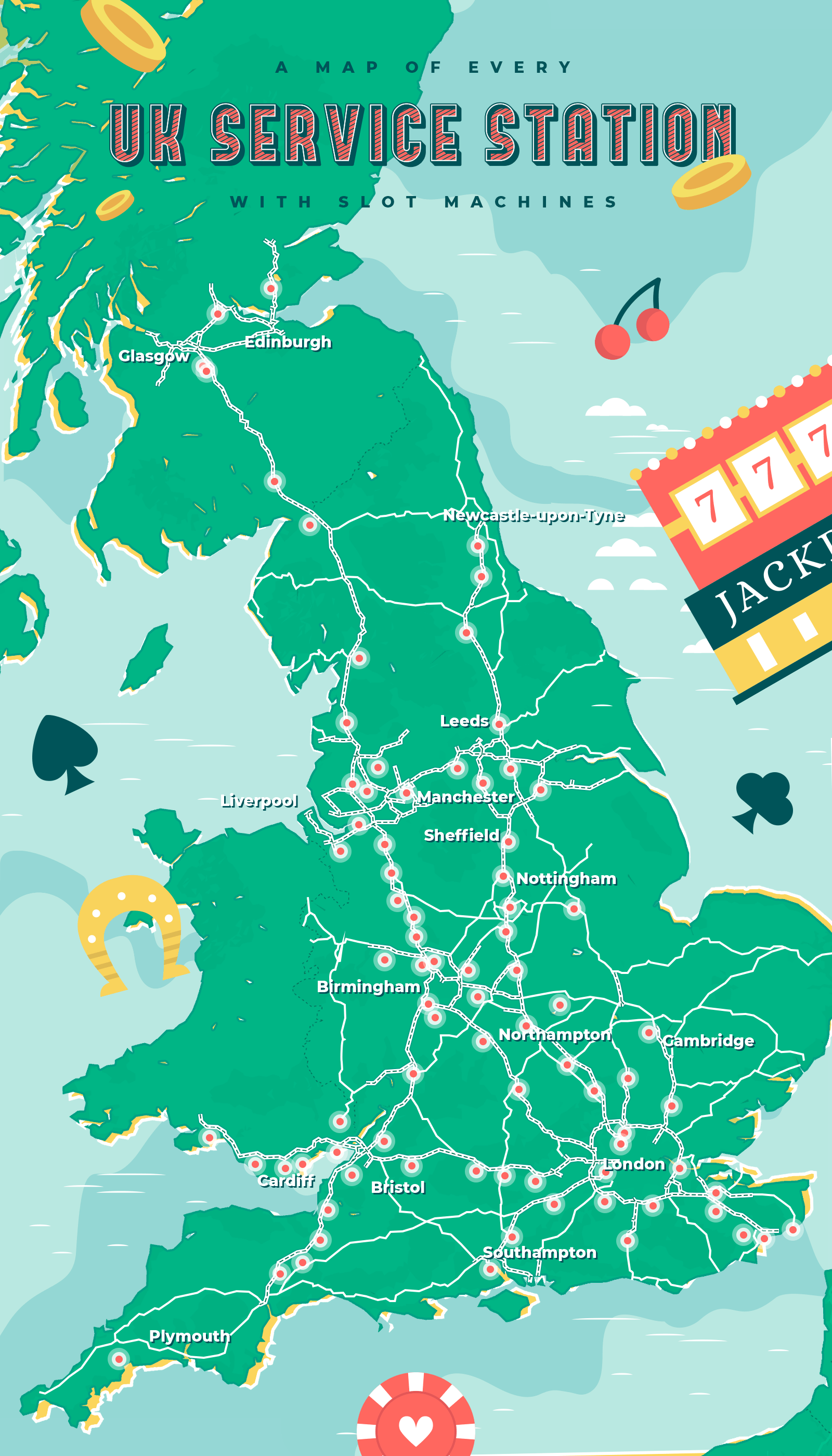 Map of UK service stations with slot machines