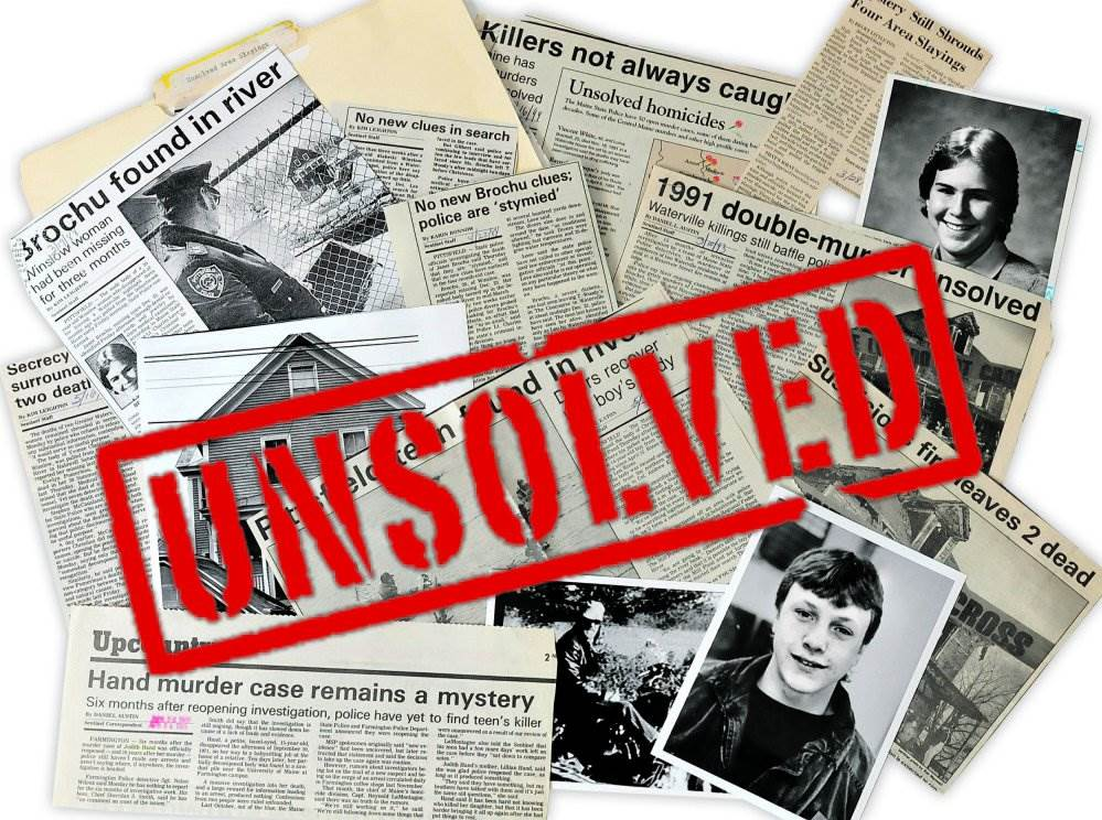 unsolved crimes with newspapers in background