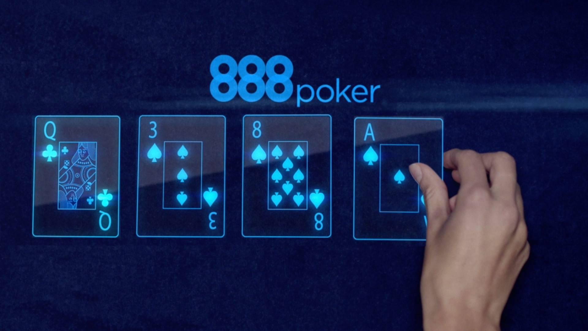 888Poker Logo mit Spielkarten