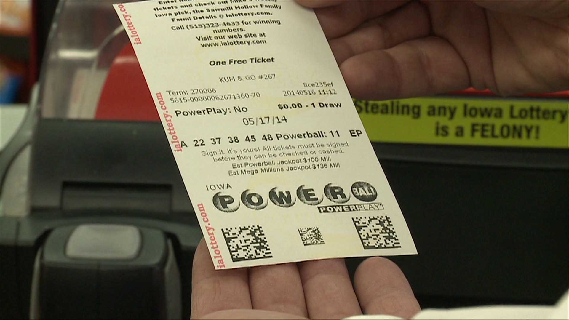 Ticket der Powerball Lotterie